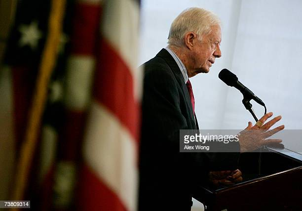 Former President Jimmy Carter speaks after being awarded the Ridenhour Courage Prize April 4 2007 in Washington DC Carter was recognized for his...