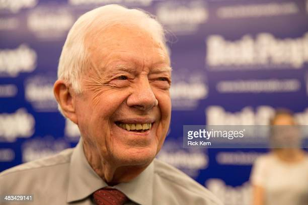 Former President Jimmy Carter speaks to the press at his book signing event at Book People on April 8 2014 in Austin Texas
