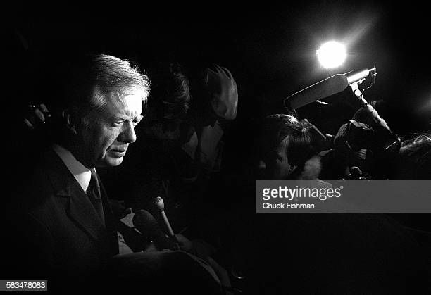 Former president Jimmy Carter speaks with the press as a newly private citizen again in Plains Georgia shortly before his flying to Weisbaden Germany...