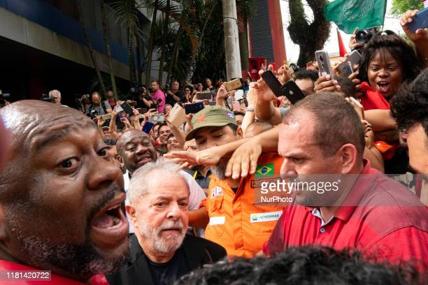 Former President Luiz Inacio Lula da Silva arrives to give a speech to his supporters in front of ABC Metallurgists Union in São Bernardo do Campo...