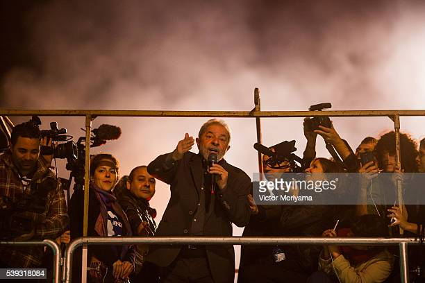 Former President Luiz Inacio Lula da Silva during protest against President Michel Temer Lula argues that the impeachment of President Dilma Rousseff...
