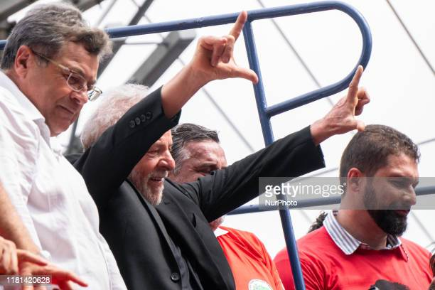 Former President Luiz Inacio Lula da Silva gesture that means Lula Livre before give a speech to his supporters in front of ABC Metallurgists Union...