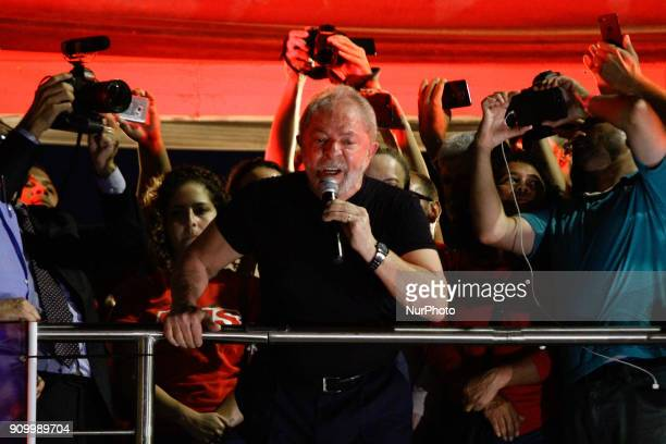 Former President Luiz Inacio Lula da Silva is participating in an act in his support carried out by militants of trade union and popular movements in...
