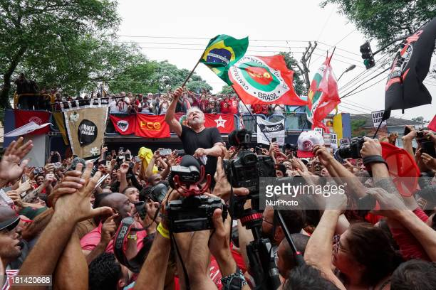 Former President Luiz Inacio Lula da Silva passing through the crowd of his supporters after his speech in front of ABC Metallurgists Union in São...