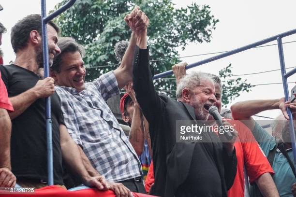 Former President Luiz Inacio Lula da Silva speaks to the crowd during a speech after being released from prison in front of ABC Metallurgists Union...