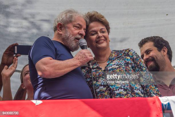 Former President Luiz Inacio Lula da Silva with impeached former president Dilma Rousseff speaks to supporters at the headquarters of the...