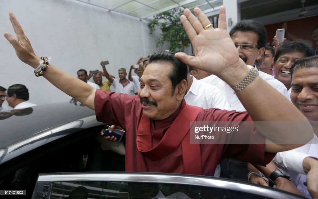 President Mahinda Rajapaksa attends a press conference after winning the LG elections : News Photo