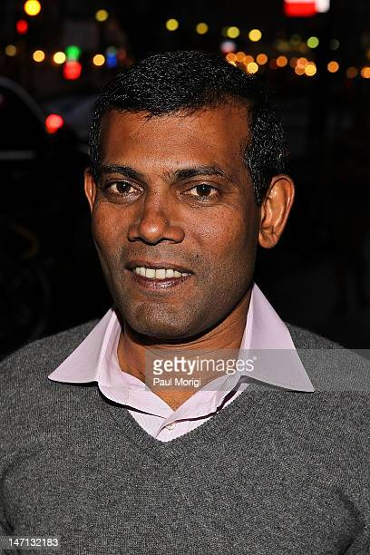 Former President Mohamed Nasheed of the Maldives attends The Island President Washington DC Special Screening at Landmark E Street Cinema on June 25...