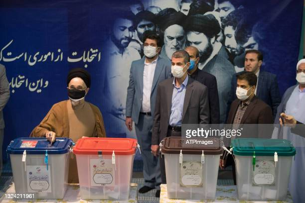 Former President Mohammad Khatami casts his ballot for presidential election on June 18, 2021 in Tehran, Iran. The country's incumbent president,...