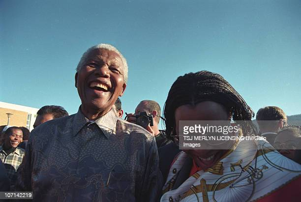 Former President Nelson Mandela and his wife Graca Machel outside Pollsmoor Prison No date available