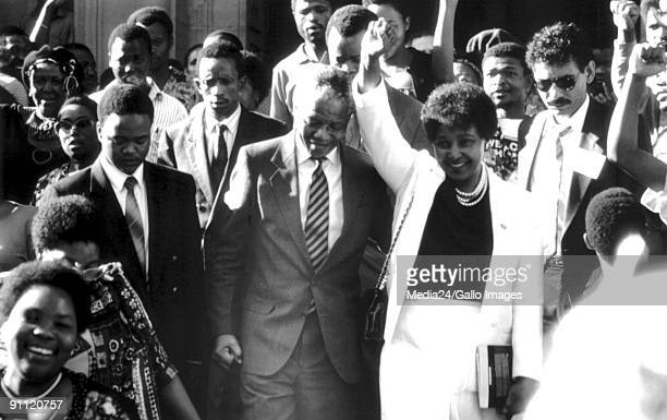 Former President Nelson Mandela and his wife Winnie Madikizela Mandea at the High Court