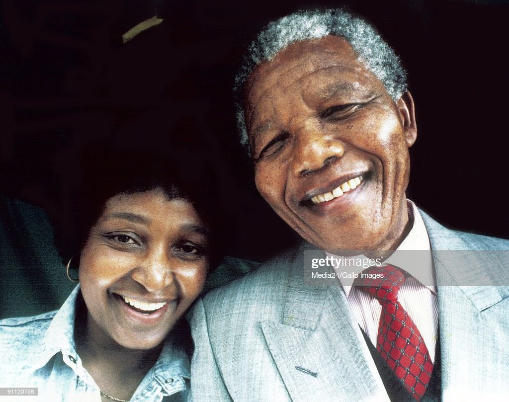 Former President Nelson Mandela and his wife, Winnie Madikizela Mandela. : News Photo