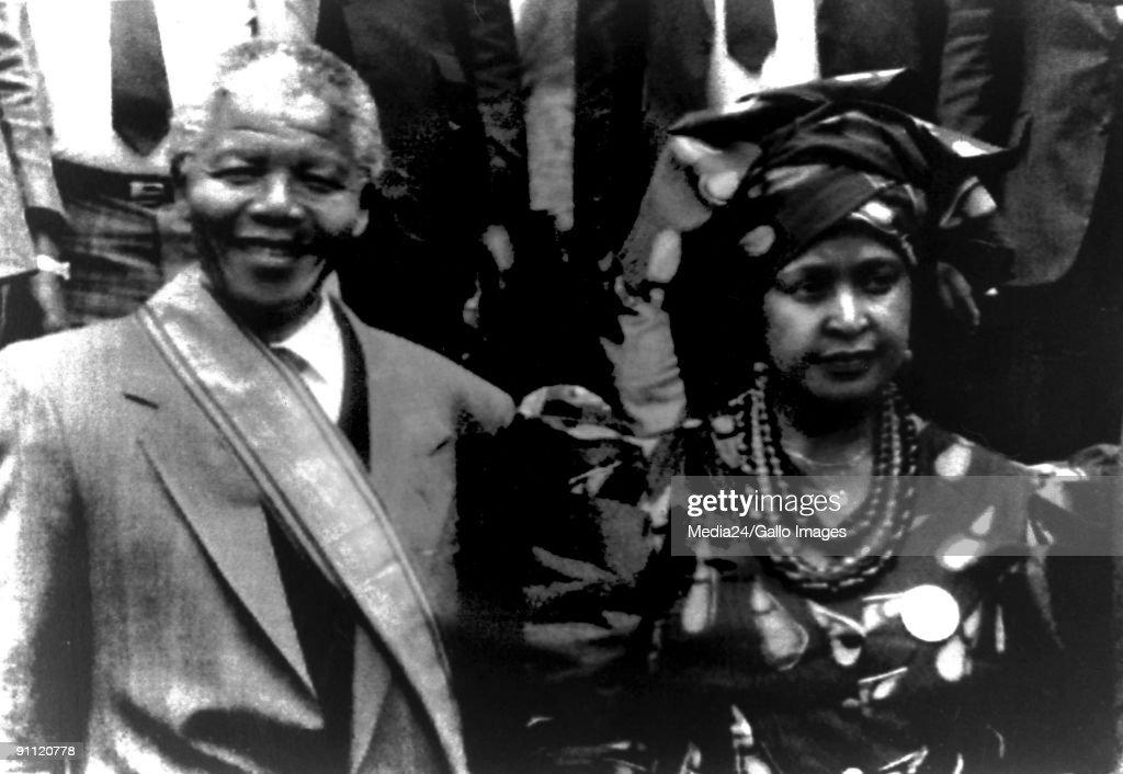 Former President Nelson Mandela and his wife Winnie. : News Photo