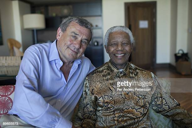 Former President Nelson Mandela of South Africa is greeted by Sol Kerzner on April 2 2009 at the OneOnly hotel in Cape Town South Africa Mr Kerzner a...