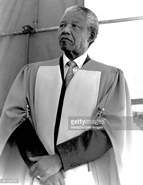 Former President Nelson Mandela receives an honourary doctors degree from the university of the Witwatersrand