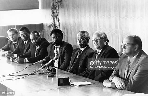 Former President Nelson Mandela with Carl Niehaus Steve Tshwete Jacob Zuma Cyril Ramaphosa Andries Beyers and Moolman Mentz at discussions between...