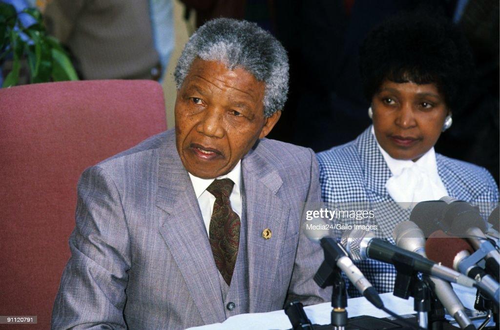 Former President Nelson Mandela with ex wife Winnie. : News Photo