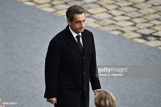 Former President Nicolas Sarkozy attends The National Tribute to The Victims of The Paris Terrorist Attacks at Les Invalides on November 27 2015 in...