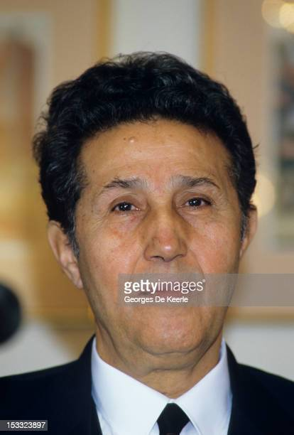 Former President of Algeria Ahmed Ben Bella at a London pressconference where he called for the restoration of democracy in his country 16th December...