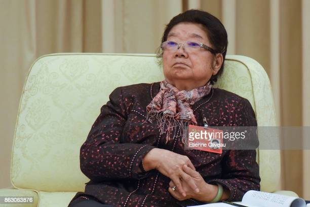 Former President of All-China Women's Federation and Vice-chair of the 10th NPC standing committee Gu Xiulian attends a meeting of the 19th Communist...