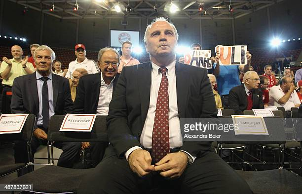 Former president of Bayern Muenchen Uli Hoeness arrives for the extraordinary members meeting of FC Bayern Muenchen at AudiDome on May 2 2014 in...