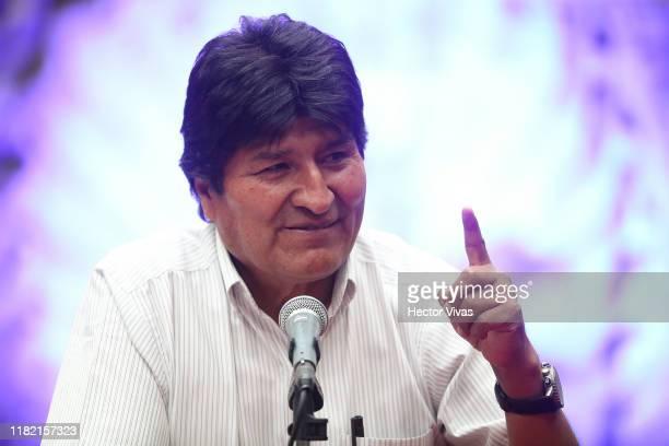 Former President of Bolivia Evo Morales Ayma gestures during a press conference at Museo de la Ciudad de Mexico on November 13 2019 in Mexico City...
