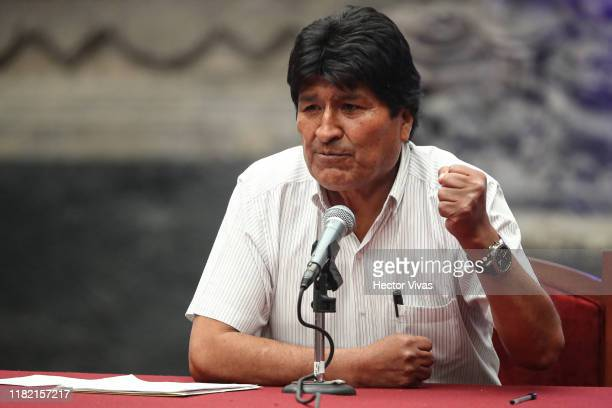 Former President of Bolivia Evo Morales Ayma speaks during a press conference at Museo de la Ciudad de Mexico on November 13 2019 in Mexico City...