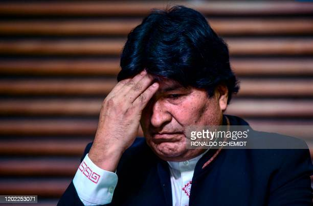 Former president of Bolivia Evo Morales gestures during a press conference in Buenos Aires, on February 21, 2020. - Bolivia's supreme electoral court...