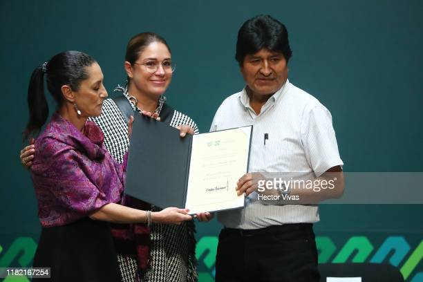 Former president of Bolivia Evo Morales is distinguished by Mayor of Mexico City Claudia Sheinbaum as honorary guest at City Hall on November 13 2019...