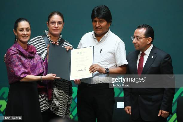 Former president of Bolivia Evo Morales is distinguished by Mayor of Mexico City Claudia Sheinbaum as honorary guest at City Hall along with Deputy...