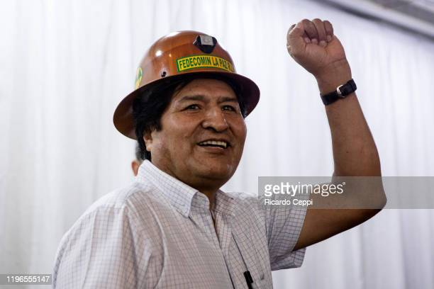 Former President of Bolivia Evo Morales raises his fist during a meeting of MAS to determine next steps to pick presidential candidates for the...