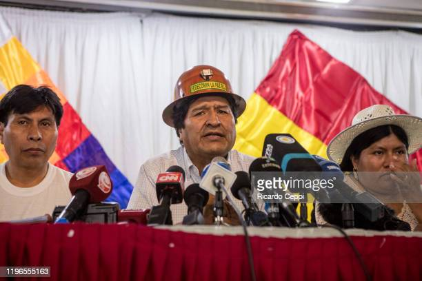 Former President of Bolivia Evo Morales speaks during a meeting of MAS to determine next steps to pick presidential candidates for the upcoming...