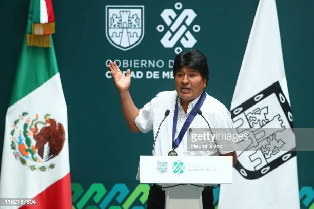 Former president of Bolivia Evo Morales speaks during an event to distinguish him as honorary guest at City Hall on November 13 2019 in Mexico City...