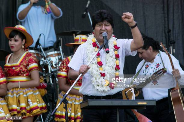 Former president of Bolivia Evo Morales speaks during an event to celebrate the 14th anniversary of the Plurinational Republic of Bolivia at Nueva...