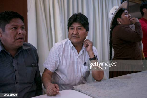 Former president of Bolivia Evo Morales talks with Movimiento al Socialismo members to select the presidential candidate towards the upcoming...