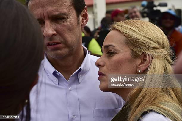 Former president of Bolivia Jorge Quiroga waits with Lilian Tiontori outside of Ramo Verde Military prision in an attempt to visit the jailed...