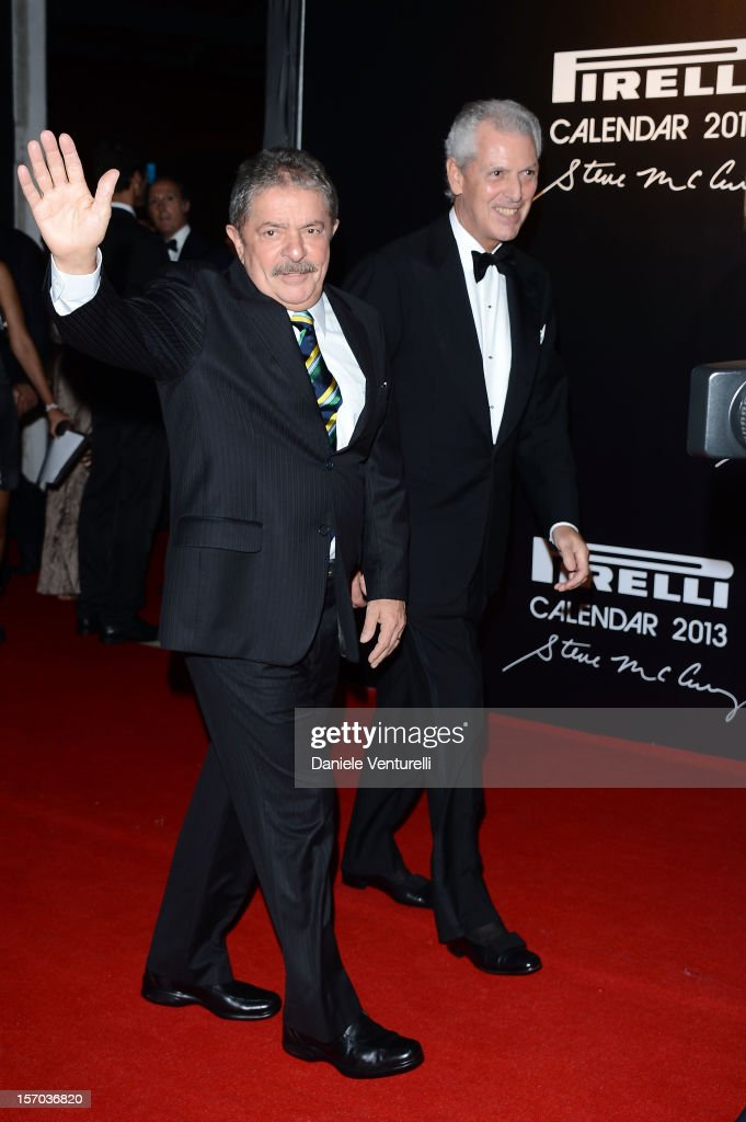 Former President of Brazil, Luiz Inacio Lula da Silva and Pirelli & C President Marco Tronchetti Provera attend the '2013 Pirelli Calendar Unveiling' on November 27, 2012 in Rio de Janeiro, Brazil.