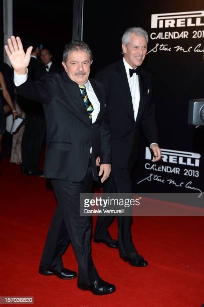 Former President of Brazil Luiz Inacio Lula da Silva and Pirelli C President Marco Tronchetti Provera attend the '2013 Pirelli Calendar Unveiling' on...