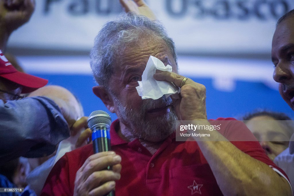 Former President of Brazil, Luiz Inacio Lula da Silva, attends a rally at the Partido dos Trabalhadores headquarters on March 4, 2016, in Sao Paulo, Brazil. Lula is accused of corruption and embezzlement in the Federal Police investigation involving fraud at Petrobras company.