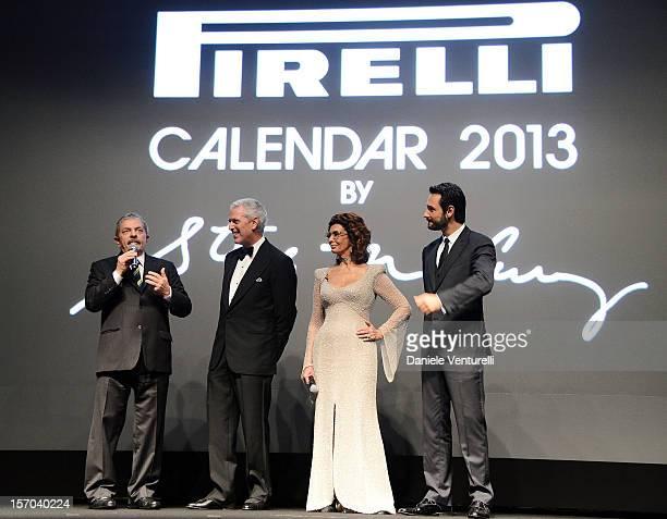 Former President of Brazil Luiz Inacio Lula da Silva Pirelli C President Marco Tronchetti Provera Sophia Loren and Rodrigo Santoro attends the '2013...