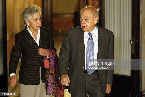 Former President of Catalonia Jordi Pujol and his wife Marta Ferrusola leave the fraud commission at the Parliament of Catalonia in Barcelona...