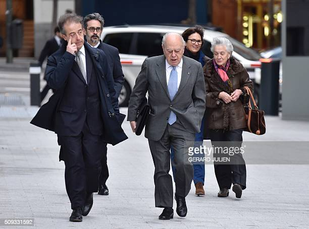 Former president of Catalonia Jordi Pujol arrives with his wife Marta Ferrusola to appear before the National Court in Madrid on February 10 2016...