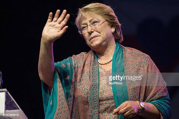 Former President of Chile and candidate for President of Chile 2014 Michelle Bachelet closes her election campaign with a cultural act in the urban...