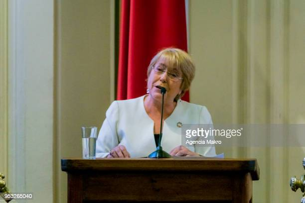 Former President of Chile Michelle Bachelet delivers a speech during the award ceremony Progressive Alliance 2018 at the headquarters of the former...