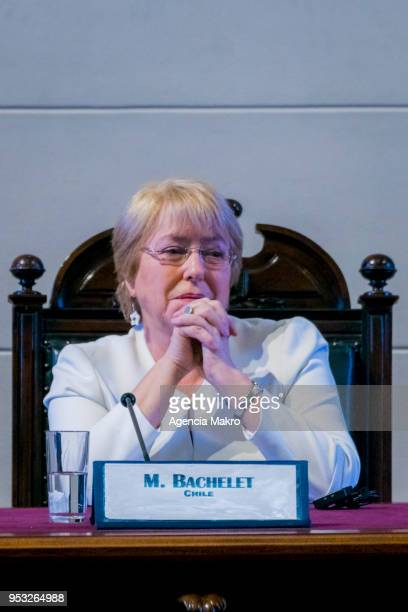 Former President of Chile Michelle Bachelet looks on during the award ceremony Progressive Alliance 2018 at the headquarters of the former Congress...