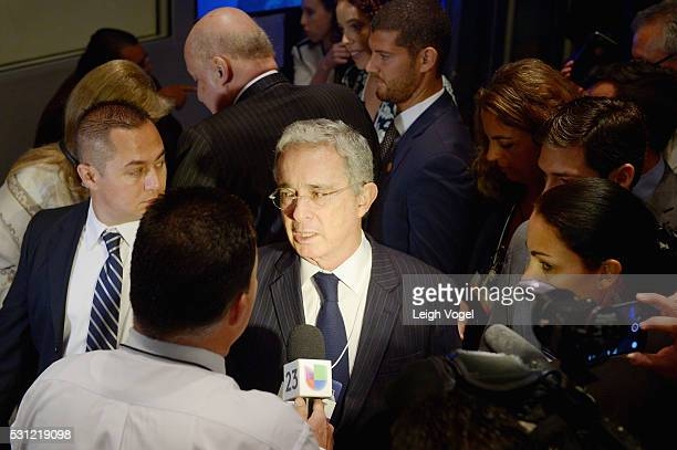 Former President of Colombia Alvaro Uribe Velez speaks during Concordia The Americas a highlevel Summit on the Americas organized by Concordia taking...