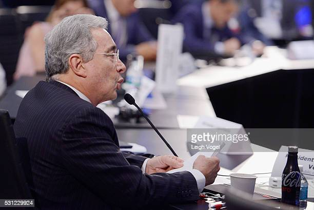 Former President of Colombia Alvaro Uribe Velez speaks on stage during Concordia The Americas a highlevel Summit on the Americas organized by...