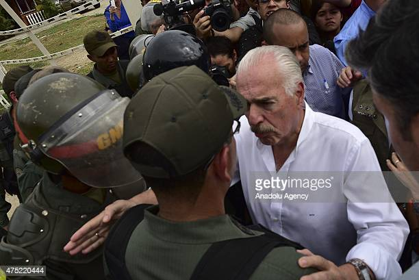Former President of Colombia Andres Pastrana attempts to visit the jailed opposition leader in Los Teques on the outskirts of Caracas Venezuela...