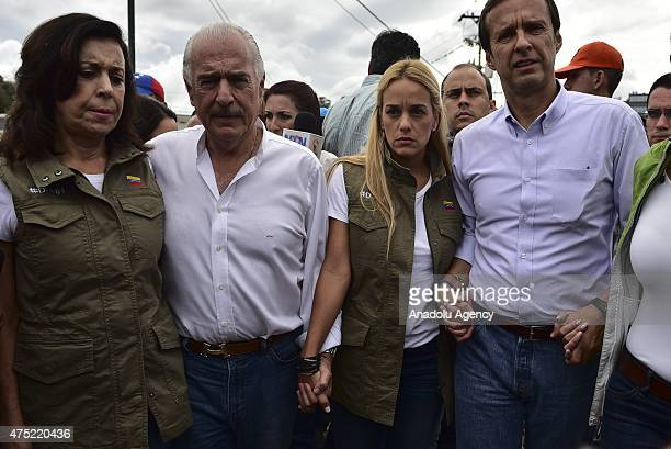 Former president of Colombia Andres Pastrana Lilian Tintori wife of imprisioned Leopoldo Lopez former President of Bolivia Jorge Quiroga stand...