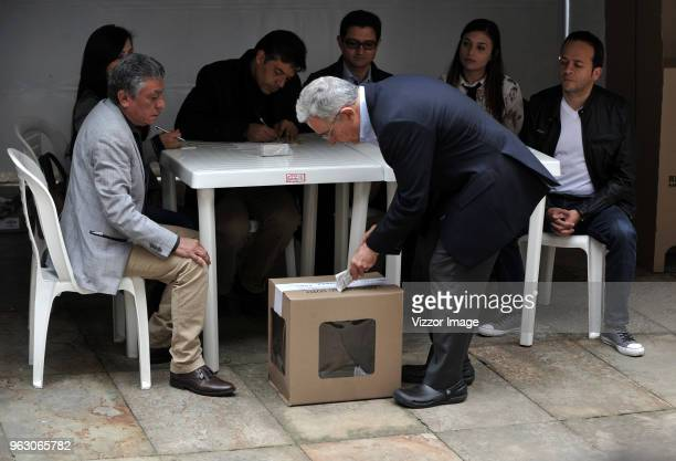 Former President of Colombia Álvaro Uribe Vélez casts his vote during the 2018 Presidential Elections in Colombia on May 27 2018 in Bogota Colombia